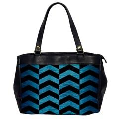 Chevron2 Black Marble & Teal Brushed Metal Office Handbags by trendistuff