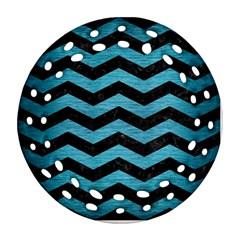 Chevron3 Black Marble & Teal Brushed Metal Ornament (round Filigree) by trendistuff