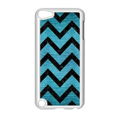 Chevron9 Black Marble & Teal Brushed Metal Apple Ipod Touch 5 Case (white) by trendistuff