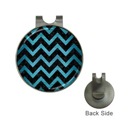 Chevron9 Black Marble & Teal Brushed Metal (r) Hat Clips With Golf Markers by trendistuff