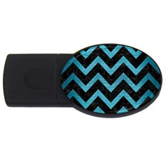 Chevron9 Black Marble & Teal Brushed Metal (r) Usb Flash Drive Oval (4 Gb) by trendistuff