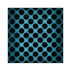 Circles2 Black Marble & Teal Brushed Metal Acrylic Tangram Puzzle (6  X 6 ) by trendistuff