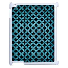 Circles3 Black Marble & Teal Brushed Metal (r) Apple Ipad 2 Case (white) by trendistuff
