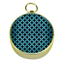 Circles3 Black Marble & Teal Brushed Metal (r) Gold Compasses by trendistuff