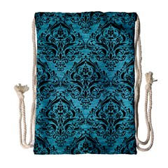 Damask1 Black Marble & Teal Brushed Metal Drawstring Bag (large) by trendistuff