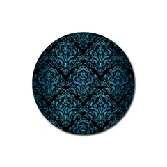 Damask1 Black Marble & Teal Brushed Metal (r) Rubber Round Coaster (4 Pack)  by trendistuff