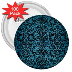 Damask2 Black Marble & Teal Brushed Metal 3  Buttons (100 Pack)  by trendistuff