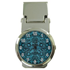 Damask2 Black Marble & Teal Brushed Metal Money Clip Watches by trendistuff