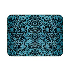 Damask2 Black Marble & Teal Brushed Metal Double Sided Flano Blanket (mini)  by trendistuff