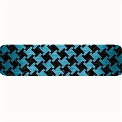 Houndstooth2 Black Marble & Teal Brushed Metal Large Bar Mats by trendistuff