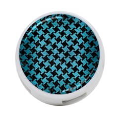 Houndstooth2 Black Marble & Teal Brushed Metal 4 Port Usb Hub (one Side) by trendistuff