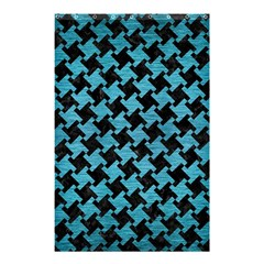 Houndstooth2 Black Marble & Teal Brushed Metal Shower Curtain 48  X 72  (small)  by trendistuff