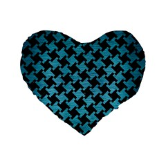 Houndstooth2 Black Marble & Teal Brushed Metal Standard 16  Premium Heart Shape Cushions by trendistuff