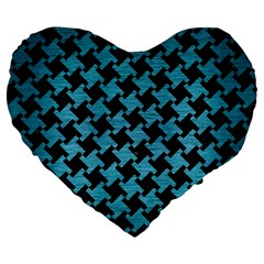 Houndstooth2 Black Marble & Teal Brushed Metal Large 19  Premium Flano Heart Shape Cushions by trendistuff