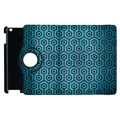 Hexagon1 Black Marble & Teal Brushed Metal Apple Ipad 2 Flip 360 Case by trendistuff