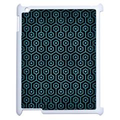 Hexagon1 Black Marble & Teal Brushed Metal (r) Apple Ipad 2 Case (white) by trendistuff