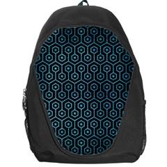 Hexagon1 Black Marble & Teal Brushed Metal (r) Backpack Bag by trendistuff