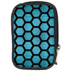 Hexagon2 Black Marble & Teal Brushed Metal Compact Camera Cases by trendistuff
