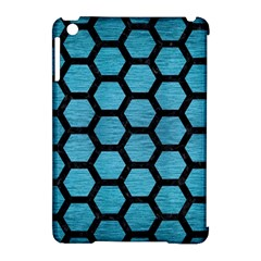 Hexagon2 Black Marble & Teal Brushed Metal Apple Ipad Mini Hardshell Case (compatible With Smart Cover) by trendistuff
