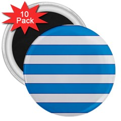 Blue And White Lines 3  Magnets (10 Pack)  by berwies