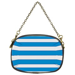 Blue And White Lines Chain Purses (one Side)  by berwies