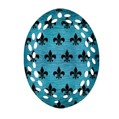 Royal1 Black Marble & Teal Brushed Metal (r) Oval Filigree Ornament (two Sides) by trendistuff