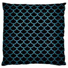 Scales1 Black Marble & Teal Brushed Metal (r) Large Cushion Case (one Side) by trendistuff