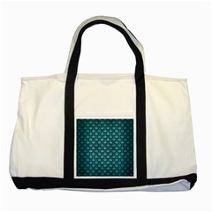Scales2 Black Marble & Teal Brushed Metal Two Tone Tote Bag by trendistuff