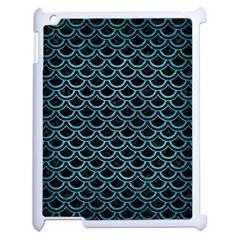 Scales2 Black Marble & Teal Brushed Metal (r) Apple Ipad 2 Case (white) by trendistuff