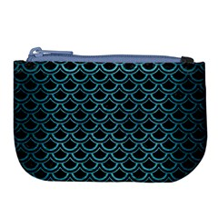 Scales2 Black Marble & Teal Brushed Metal (r) Large Coin Purse by trendistuff