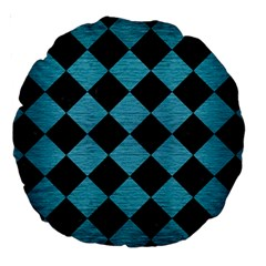 Square2 Black Marble & Teal Brushed Metal Large 18  Premium Round Cushions by trendistuff