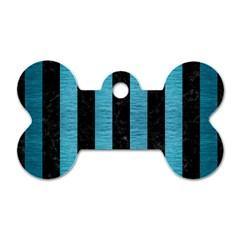 Stripes1 Black Marble & Teal Brushed Metal Dog Tag Bone (one Side) by trendistuff