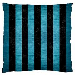 Stripes1 Black Marble & Teal Brushed Metal Large Cushion Case (one Side) by trendistuff