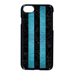 Stripes1 Black Marble & Teal Brushed Metal Apple Iphone 8 Seamless Case (black) by trendistuff