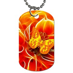 Arrangement Butterfly Aesthetics Orange Background Dog Tag (one Side) by Celenk