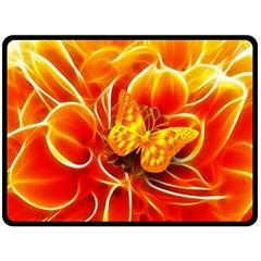 Arrangement Butterfly Aesthetics Orange Background Double Sided Fleece Blanket (large)  by Celenk