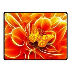 Arrangement Butterfly Aesthetics Orange Background Double Sided Fleece Blanket (small)  by Celenk