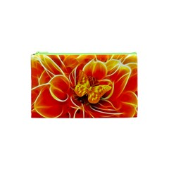 Arrangement Butterfly Aesthetics Orange Background Cosmetic Bag (xs)