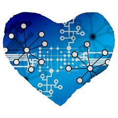 Block Chain Data Records Concept Large 19  Premium Heart Shape Cushions by Celenk
