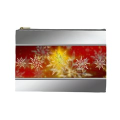 Christmas Candles Christmas Card Cosmetic Bag (large)  by Celenk