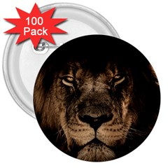 African Lion Mane Close Eyes 3  Buttons (100 Pack)  by Celenk