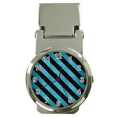 Stripes3 Black Marble & Teal Brushed Metal Money Clip Watches by trendistuff