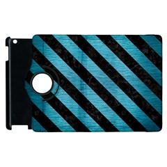 Stripes3 Black Marble & Teal Brushed Metal Apple Ipad 2 Flip 360 Case by trendistuff