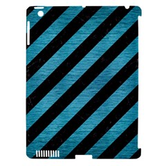 Stripes3 Black Marble & Teal Brushed Metal (r) Apple Ipad 3/4 Hardshell Case (compatible With Smart Cover) by trendistuff
