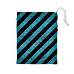 Stripes3 Black Marble & Teal Brushed Metal (r) Drawstring Pouches (large)  by trendistuff