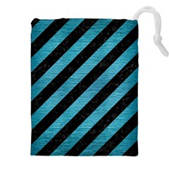 Stripes3 Black Marble & Teal Brushed Metal (r) Drawstring Pouches (xxl) by trendistuff