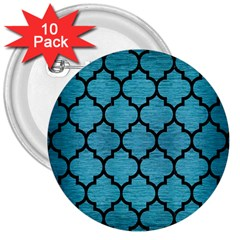 Tile1 Black Marble & Teal Brushed Metal 3  Buttons (10 Pack)  by trendistuff