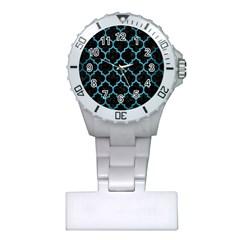 Tile1 Black Marble & Teal Brushed Metal (r) Plastic Nurses Watch by trendistuff