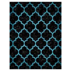 Tile1 Black Marble & Teal Brushed Metal (r) Drawstring Bag (large) by trendistuff