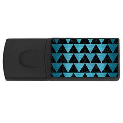 Triangle2 Black Marble & Teal Brushed Metal Rectangular Usb Flash Drive by trendistuff